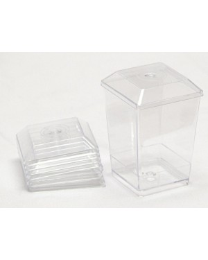 Single Cubic Dessert Cup With Lid - 120ml